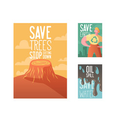 save the earth poster banner advertising flyer vector image