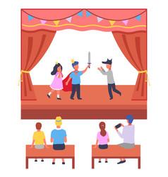 School children s theater performance parents vector