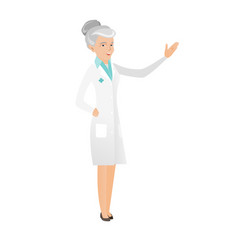 Senior caucasian doctor with outstretched hand vector