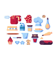 set confectioner tools and sweets vector image