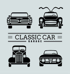 Set front view classic car icon vector