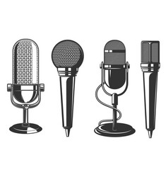 set microphone in retro style design vector image