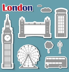 Set of stickers for the journey to London vector