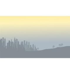 Silhoustte of buildings on the fields vector image