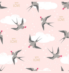 swallows birds carrying hearts in flight pattern vector image