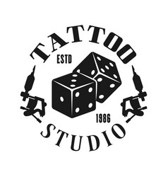 Tattoo studio emblem with gambling dice vector