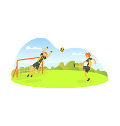 teenager boys playing football outdoors soccer vector image