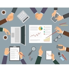 The hands of the people in the business vector image