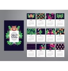 Tropical printable calendar 2017 vector