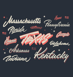 Usa states brush lettering vector
