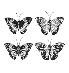 Vintage Butterfly set vector image