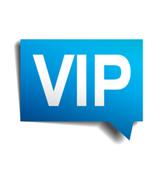 vip blue 3d realistic paper speech bubble vector image