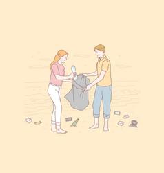 Volunteer eco environment pollution concept vector