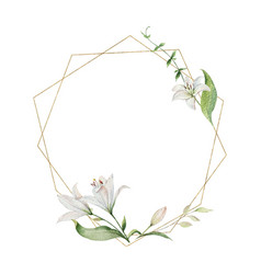 Watercolor hand painted wreath flowers vector