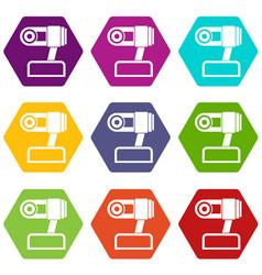 Webcam icon set color hexahedron vector