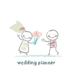 wedding planner with the bride vector image