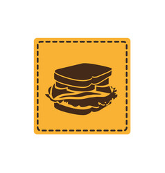 yellow emblem sticker sandwich icon vector image
