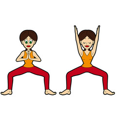 Yoga asana set goddess or temple pose variations vector