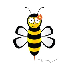 cute bee in black and yellow color vector image