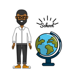 teacher with earth planet desk decoration vector image vector image