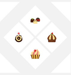 flat cake set of cake cupcake sweetmeat and vector image vector image