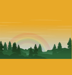 landscape of hill with rainbow silhouettes vector image