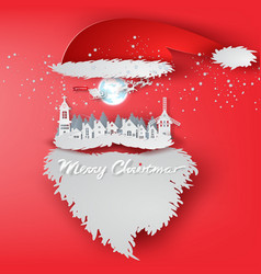 paper art of merry christmas day with santa claus vector image vector image