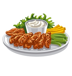 roasted chicken wings vector image vector image