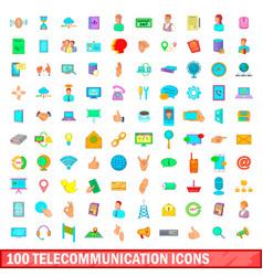 100 telecommunication icons set cartoon style vector