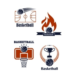 Basketball sport emblems or logos vector image