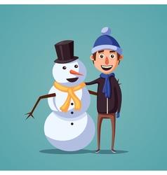 Boy making cute snowman Cartoon vector image