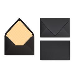 Mock-up of black designed envelope front view vector