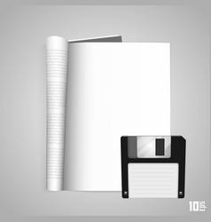 open the paper journal floppy vector image vector image