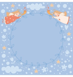 Wreath with two angels vector image