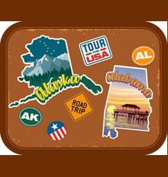 alaska alabama travel stickers vector image