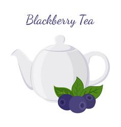 blackberry tea in teapot with berries vector image