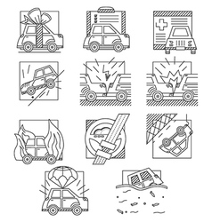 Car insurance flat line icons vector image vector image