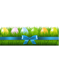 easter grass border with eggs vector image vector image
