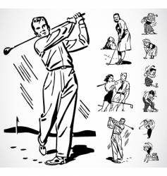 retro golf ornaments vector image vector image