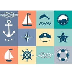 Set of sea and nautical labels badges vector image vector image