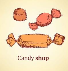 Sketch candies set in vintage style vector image vector image