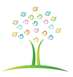 Tree with swirly leafs logo vector image