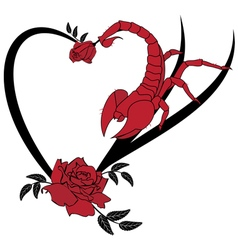 valentine frame with roses and scorpion vector image vector image