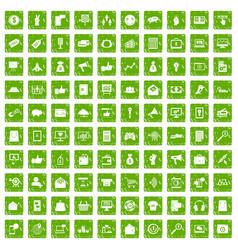 100 digital marketing icons set grunge green vector image