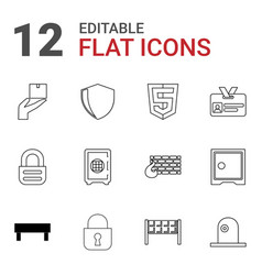 12 security icons vector image