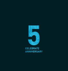 5 year anniversary aqua color template design vector
