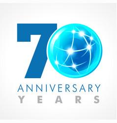 70 anniversary connecting logo vector