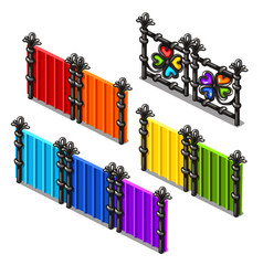 a set of fragments of colored fences isolated on vector image