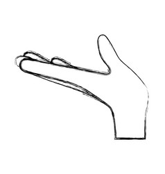 arm extended hand gesture on blurred silhouette vector image