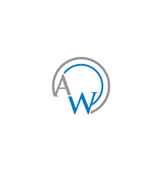 aw letter circle logo vector image
